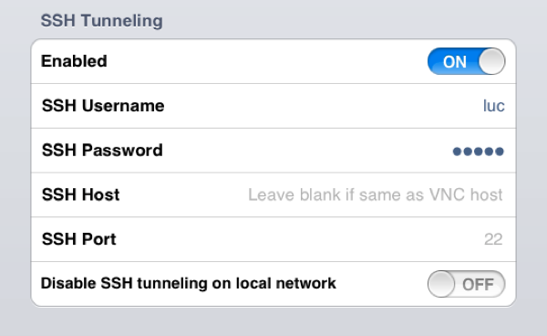 Ssh tunneling settings
